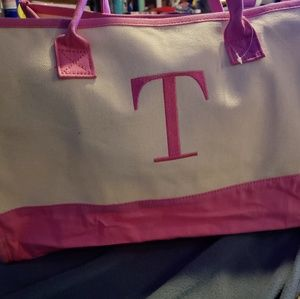 Pink and white canvas tote monogram T